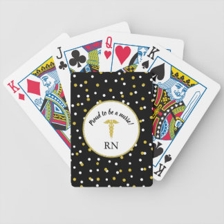 Proud to be a nurse, gold dot confetti, RN gift Bicycle Playing Cards