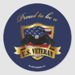 Proud to be a U.S. Veteran - navy blue Round Sticker