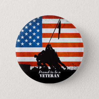 Proud to be a Veteran 6 Cm Round Badge