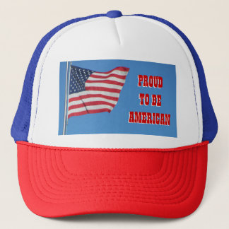 Proud To Be American with Flag Trucker Hat