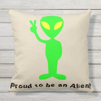 """Proud to be an Alien"" Funny Green Alien Pillow"