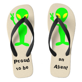 """Proud to be an Alien"" Green Alien Flip Flops"