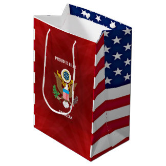 """Proud to be an American,"" red, white and blue Medium Gift Bag"