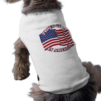 Proud To Be An American With USA Flag Sleeveless Dog Shirt