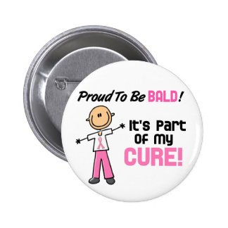Proud To Be Bald Breast Cancer Stick Figure 6 Cm Round Badge