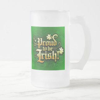 Proud To Be Irish Frosted Glass Mug