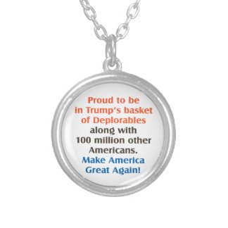 proud to be trump supporter silver plated necklace
