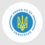 Proud to be Ukrainian sign with Coat of Arms Round Sticker