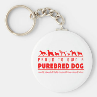 Proud to Own a Purebred Dog: Red Basic Round Button Key Ring