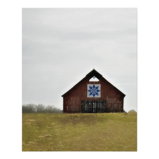Proud Traditions  barn, quilt on rainy day Poster