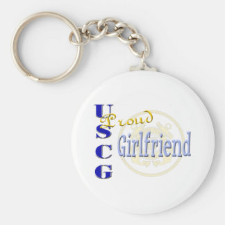 Proud USCG Girlfriend Basic Round Button Key Ring