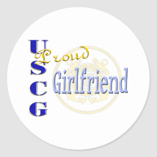 Proud USCG Girlfriend Round Sticker