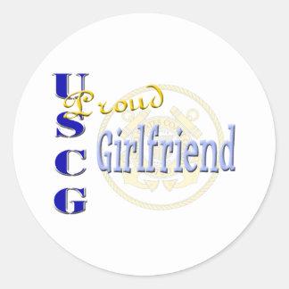 Proud USCG Girlfriend Round Sticker