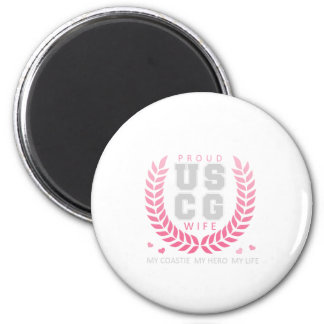 Proud USCG Wife Crest 6 Cm Round Magnet