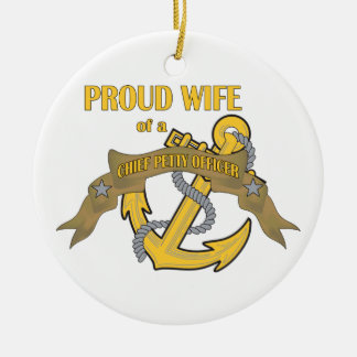 Proud Wife of a Chief Petty Officer Round Ceramic Decoration