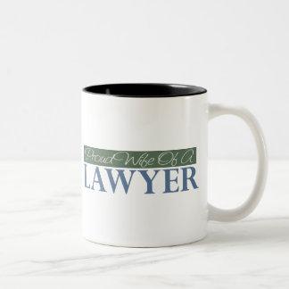Proud Wife Of A Lawyer (Green) Two-Tone Coffee Mug
