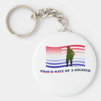 PROUD WIFE OF A SOLDIER BASIC ROUND BUTTON KEY RING