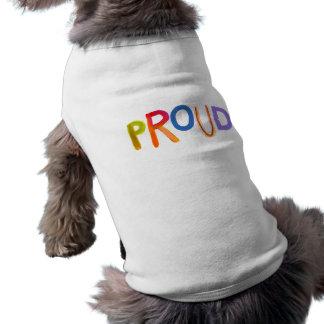 Proud word art bold unashamed confident smug dog t shirt