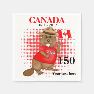 Proudly Canadian Beaver 150 Anniversary Disposable Serviette