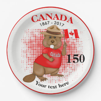 Proudly Canadian Beaver 150 Anniversary Paper Plate