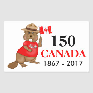 Proudly Canadian Beaver 150 Anniversary Rectangular Sticker