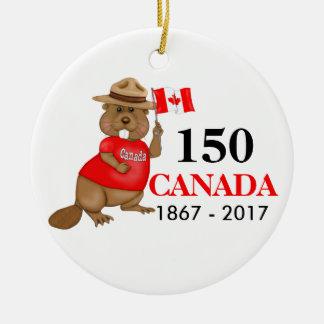 Proudly Canadian Beaver 150 Anniversary Round Ceramic Decoration