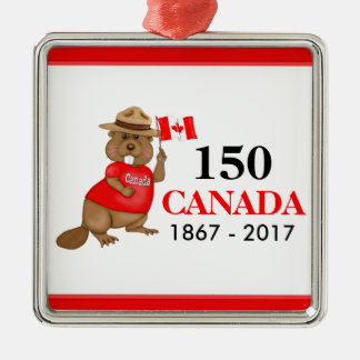 Proudly Canadian Beaver 150 Anniversary Silver-Colored Square Decoration