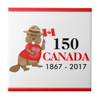 Proudly Canadian Beaver 150 Anniversary Small Square Tile