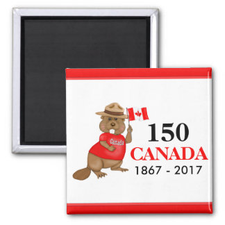 Proudly Canadian Beaver 150 Anniversary Square Magnet