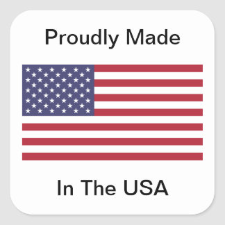 Proudly Made In The USA Square Sticker
