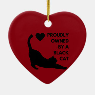 Proudly Owned by a Black Cat Ceramic Heart Decoration