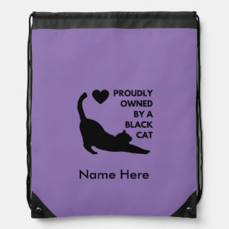 Proudly Owned by a Black Cat Drawstring Bag