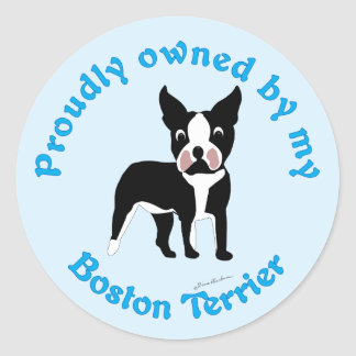 Proudly Owned by a Boston Terrier Classic Round Sticker
