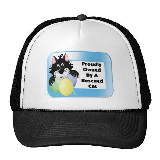 Proudly Owned By A Rescued Cat Mesh Hats