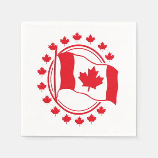Proudly Wave Canada Day Party Paper Napkins Disposable Serviette
