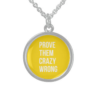 Prove Business Success Quotation Yellow Bold Sterling Silver Necklace
