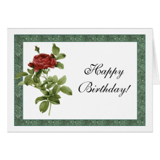 Provencal Red Rose Birthday Card