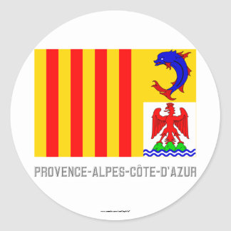 Provence-Alpes-Côte-d'Azur flag with name Round Stickers