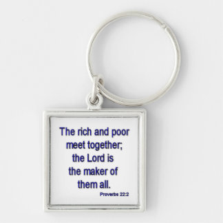 Proverbs22-2 Silver-Colored Square Key Ring