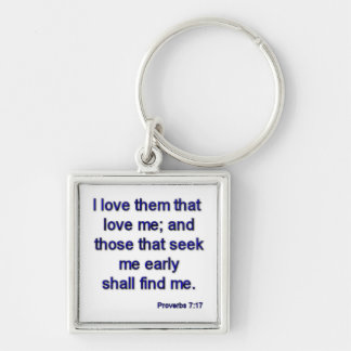 Proverbs7-17 Silver-Colored Square Key Ring