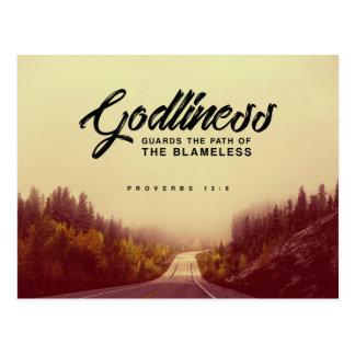 Proverbs 13:6 - Godliness Postcard