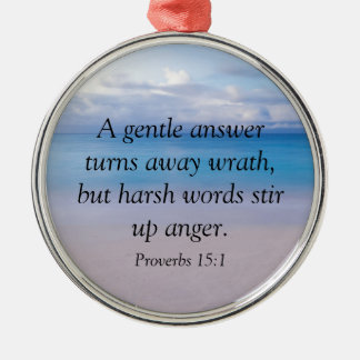 Proverbs 15:1 - Bible Verse Silver-Colored Round Decoration