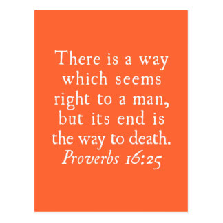 Proverbs 16:25 There is a way which seems right... Postcard