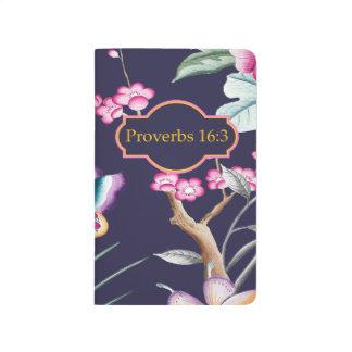 Proverbs 16:3 Bible Verse Floral Notebook