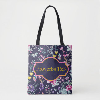 Proverbs 16:3 Bible Verse Floral Tote