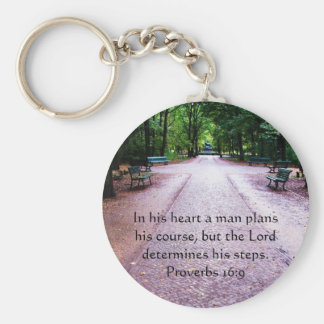 Proverbs 16:9 Inspirational Bible Verse Key Ring
