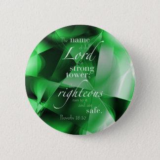 Proverbs 18:10 6 cm round badge