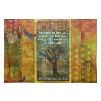 "Proverbs 18:10 ""The name of the LORD is a strong.. Placemat"