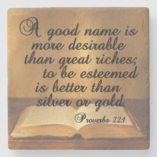 Proverbs 22:1 A good name is more desirable than g Stone Coaster