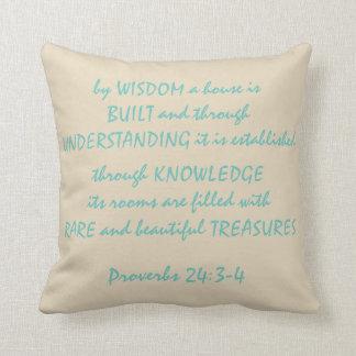 """Proverbs 24:3-4 Polyester Throw Pillow 16"""" x 16"""""""